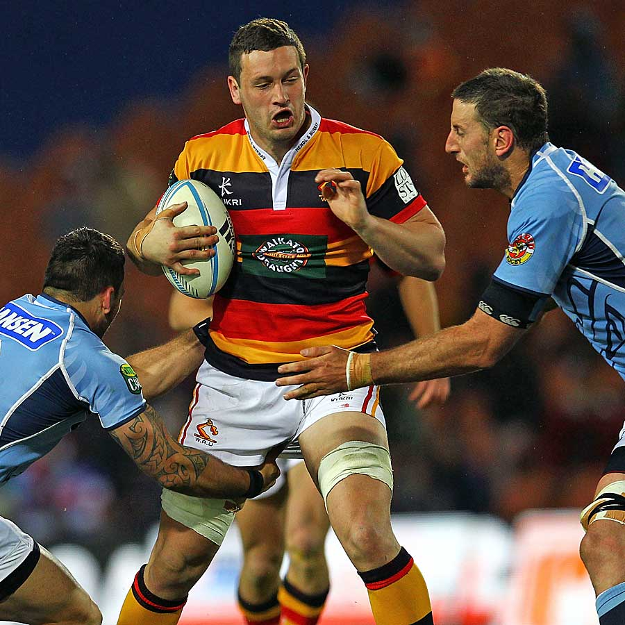 Waikato's Rory Grice takes the ball forward