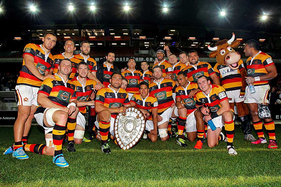 Waikato's players pose with the Ranfurly Shield