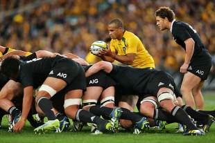 Australia's Will Genia prepares to feed a scrum, Australia v New Zealand, The Rugby Championship, ANZ Stadium, Sydney, August 17, 2013