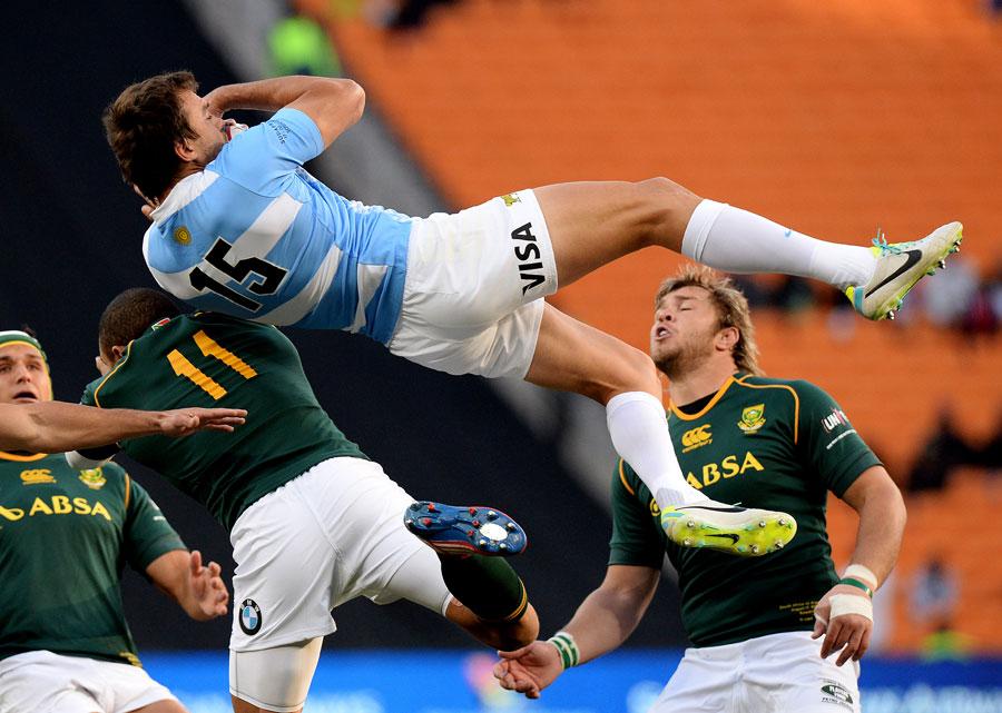 Argentina's Juan Martin Hernandez claims a high ball