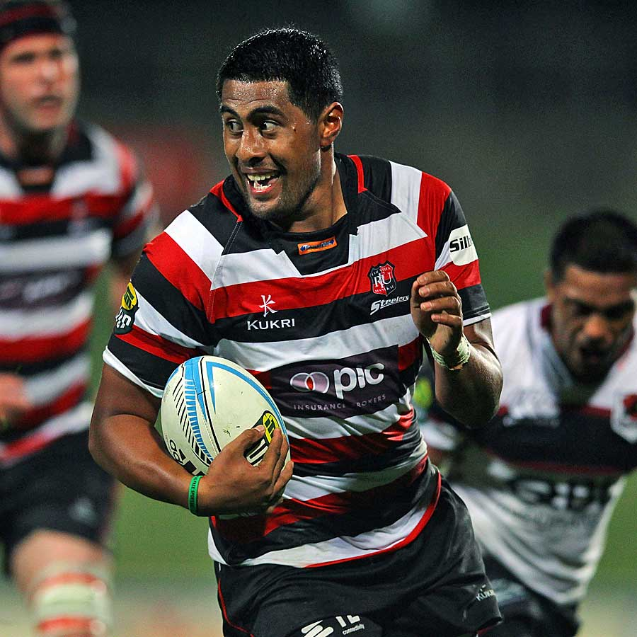 Counties Manukau's Ahsee Tuala runs in for a try against North Harbour