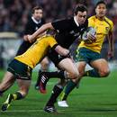 New Zealand's Ben Smith beats the tackle of James O'Connor