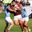 Southland's Cardiff Vaega takes a tackle