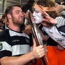 Hawke's Bay's Michael Allardice celebrates with fans after winning the Ranfurly Shield