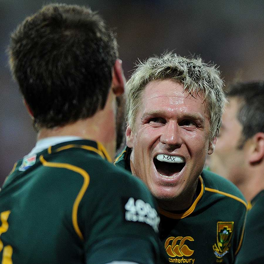 South Africa's Jean de Villers celebrates a try by Willie Le Roux