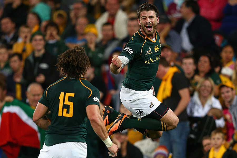 South Africa's Willie le Roux of the Springboks celebrates a try