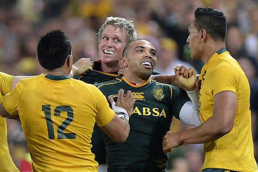 South Africa's Bryan Habana eyeballs Australia's Israel Folau