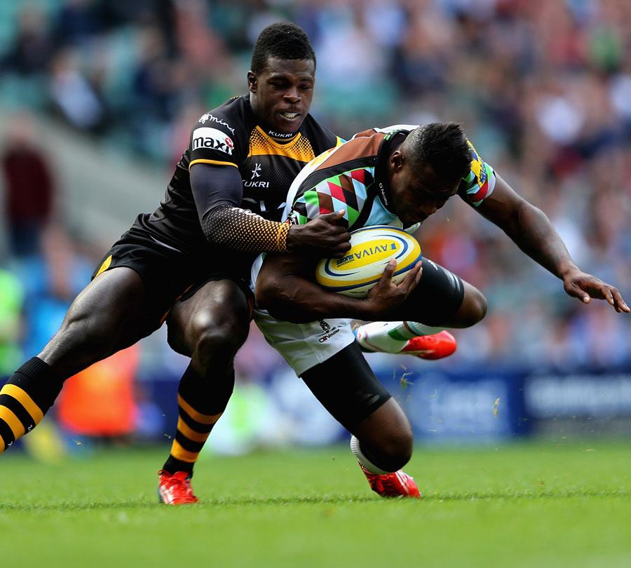 Wasps' Christian Wade tackles Quins' Ugo Monye