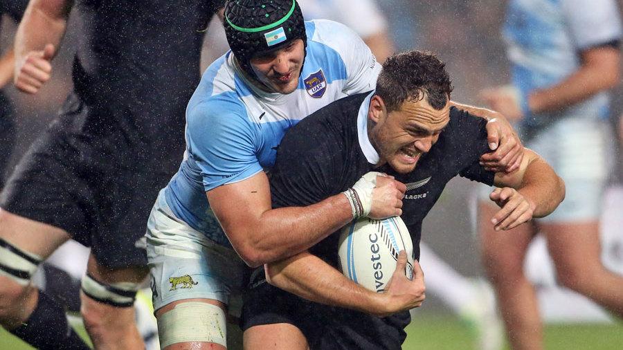 Argentina's Pablo Matera tackles New Zealand's Israel Dagg, New Zealand v Argentina, The Rugby Championship, Waikato Stadium, Hamilton, September 7, 2013