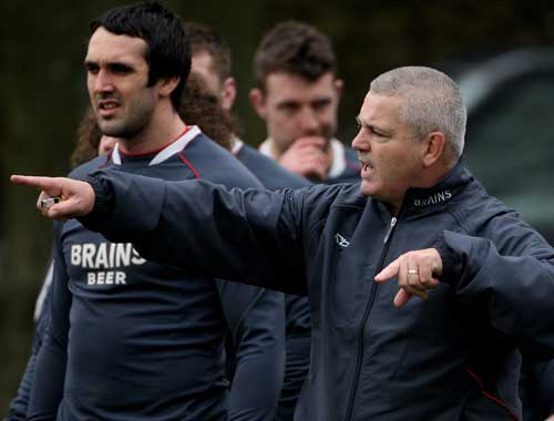 Warren Gatland makes a point during Wales training
