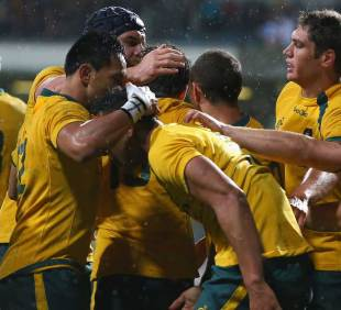 Australia celebrate Israel Folau's try, Australia v Argentina, Rugby Championship, Paterson's Stadium, Perth, Australia, September 14, 2013