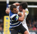 Leicester's Lopovi'i Mulipola fends off Bath's Gavin Henson