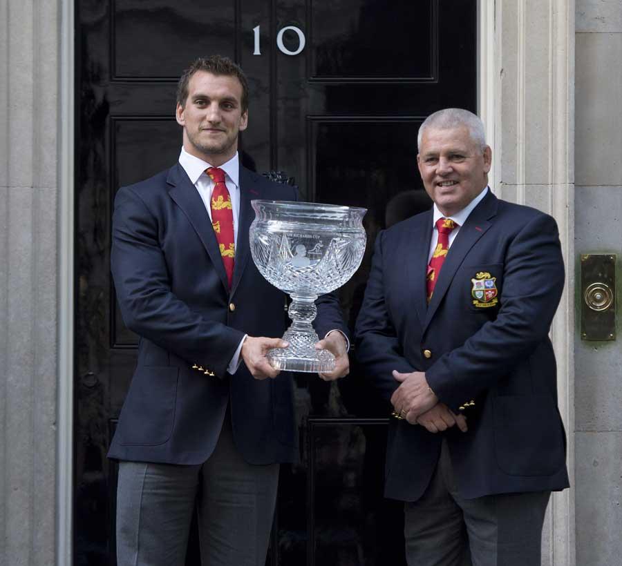 British & Irish Lions captain Sam Warburton and coach Warren Gatland hold the Tom Richards Cup