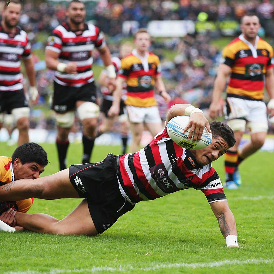 Counties Manukau's Augustine Pulu charges towards the line