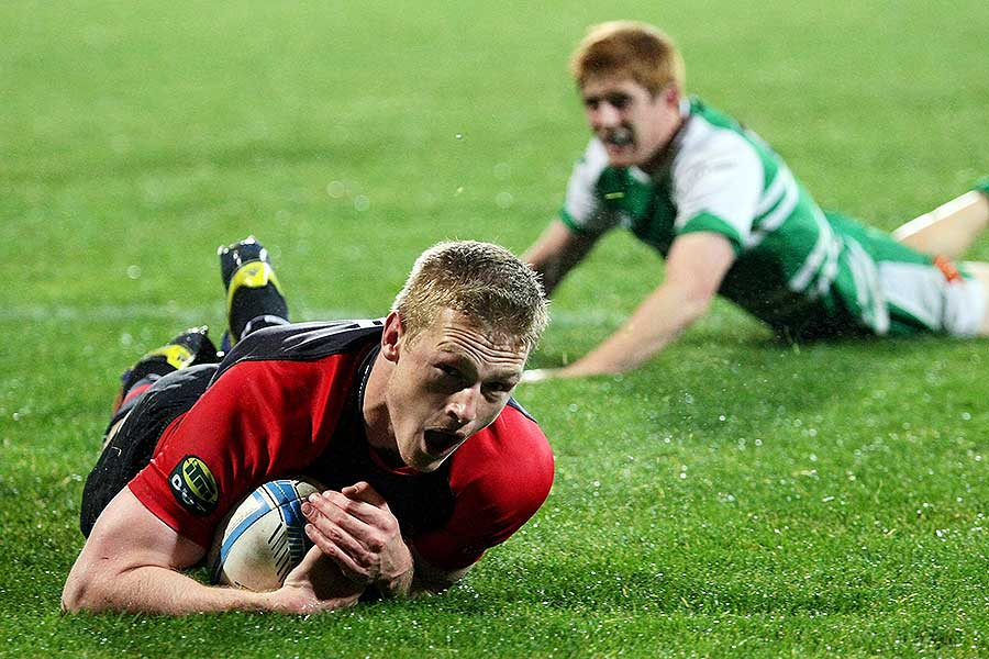 Canterbury's Johnny McNicholl scores a try
