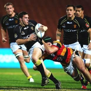 Wellington's Shaun Treeby makes a break, Waikato v Wellington, ITM Cup,  Waikato Stadium, Hamilton, 27 September 2013