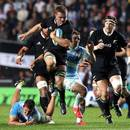 Sam Cane of the All Blacks charges upfield