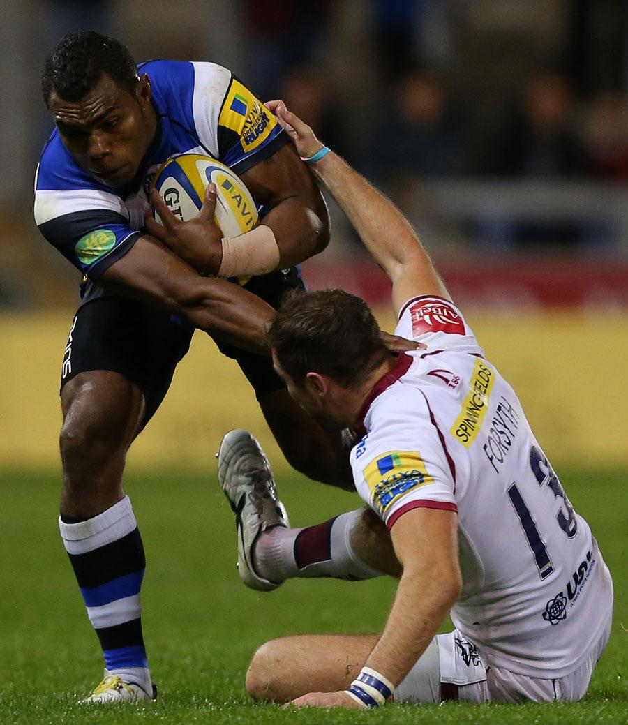 Bath's Semesa Rokoduguni breaks through a tackle