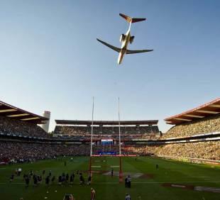 A plane flies over Ellis Park before the South Africa v New Zealand game, South Africa v New Zealand, Rugby Championship, Ellis Park, South Africa, October 5, 2013