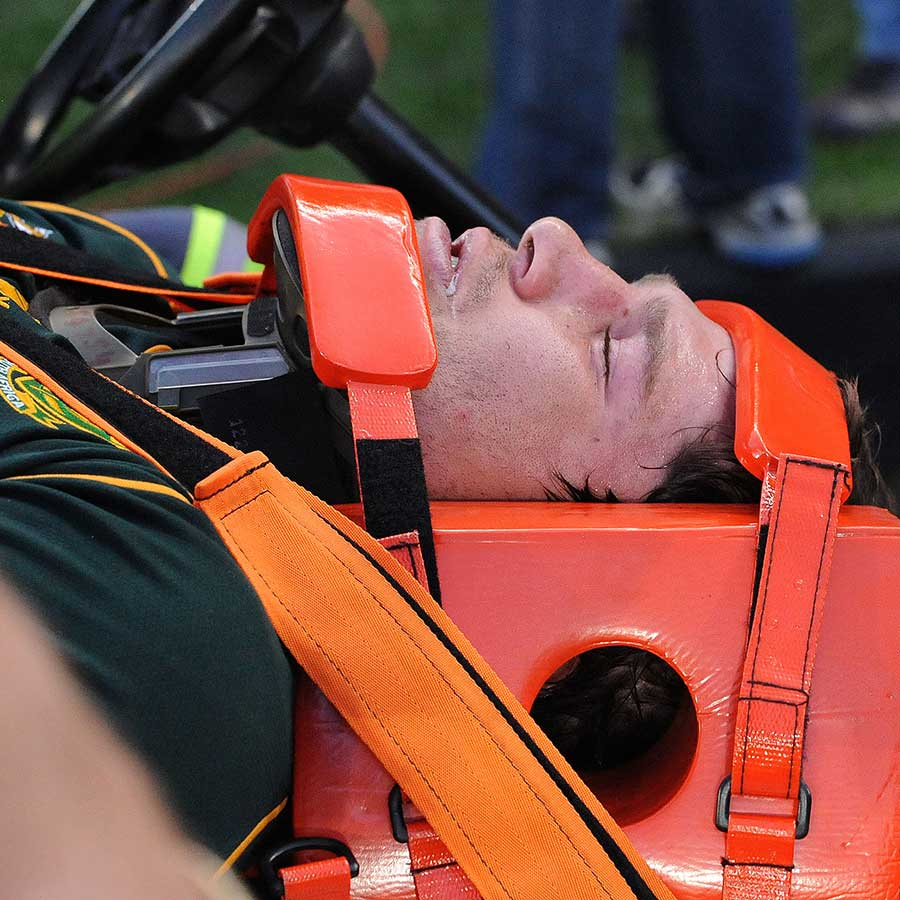South Africa's Willem Alberts leaves the field injured