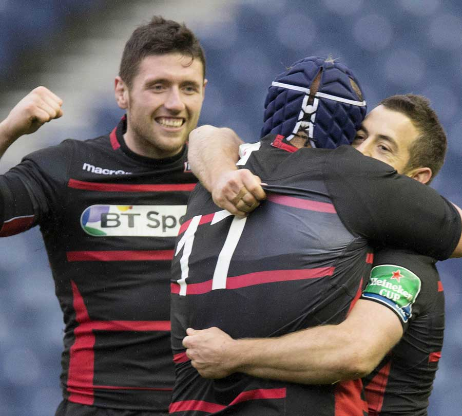 Edinburgh celebrate their win over Munster