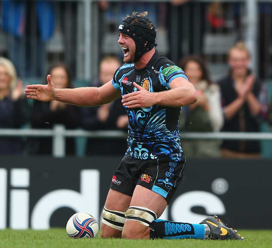 Exeter Chiefs' Dean Mumm celebrates scoring their second try