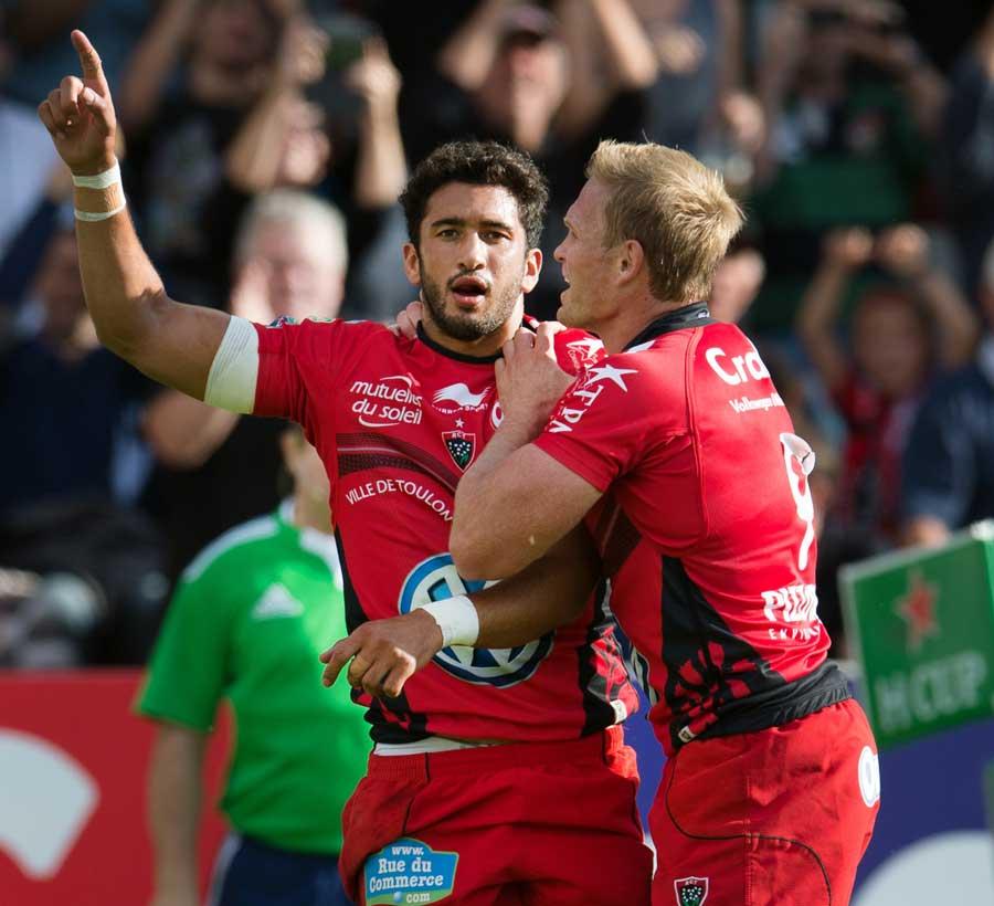 Toulon's Maxime Mermoz celebrates a try