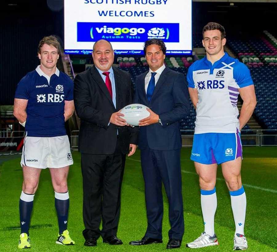 Stuart Hogg, Scottish Rugby's Chief Executive Mark Dodson, viagogo's Oliver Wheeler and Matt Scott unveil Scottish Rugby's partnership with viagogo