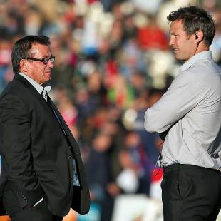 Tasman head coach Kieran Keane and assistant coach Leon MacDonald compare notes, Tasman v Hawke's Bay, ITM Cup, Championship final, Trafalgar Park, Nelson, October 25, 2013