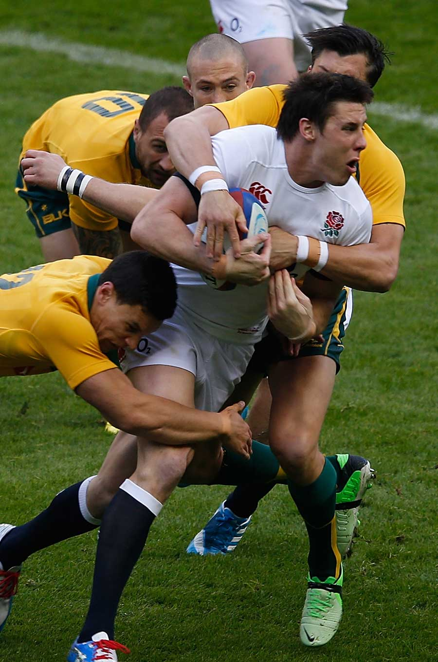 England's Joel Tomkins carries forward