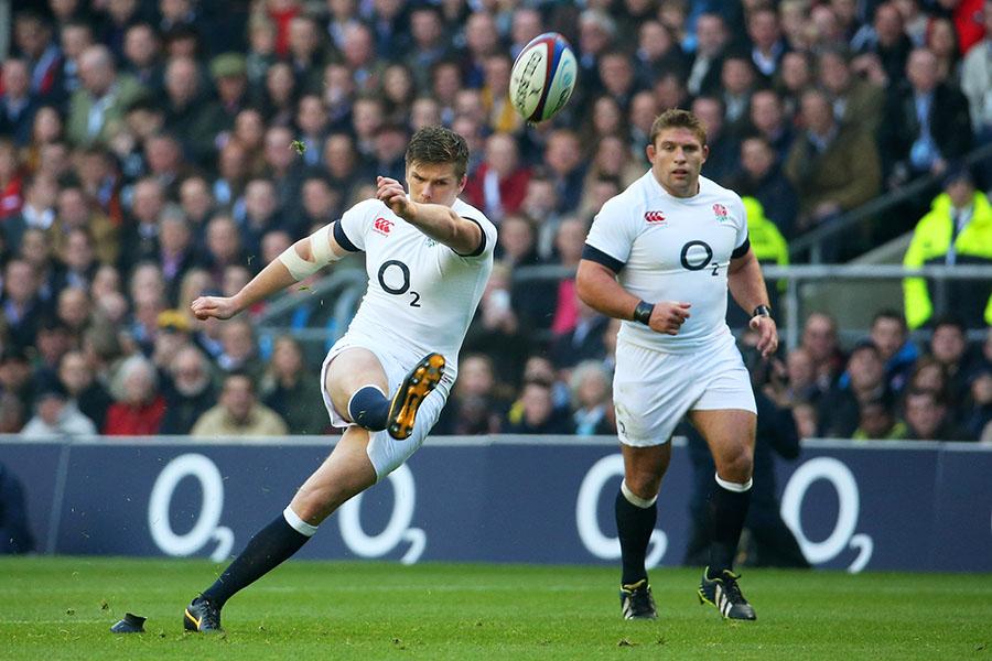 Owen Farrell kicks for goal as England look to assert early pressure against Australia