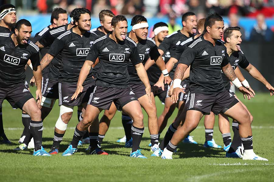 The New Zealand Maori perform their haka prior to play against Canada