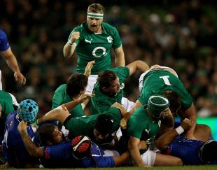 Jamie Heaslip celebrates an Ireland try against Samoa , Ireland v Samoa, Aviva Stadium, Dublin, Ireland, November 9, 2013