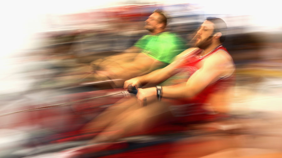 Jeremy Thrush and Dominic Bird train on a rowing machine