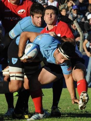 Uruguay's Juan Ormaechea is halted, Uruguay v Chile, Charrua Stadium, Montevideo, Uruguay, May 4, 2013
