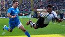 Fiji's fullback Metuisela Talebula scores chased by Tommaso Iannone