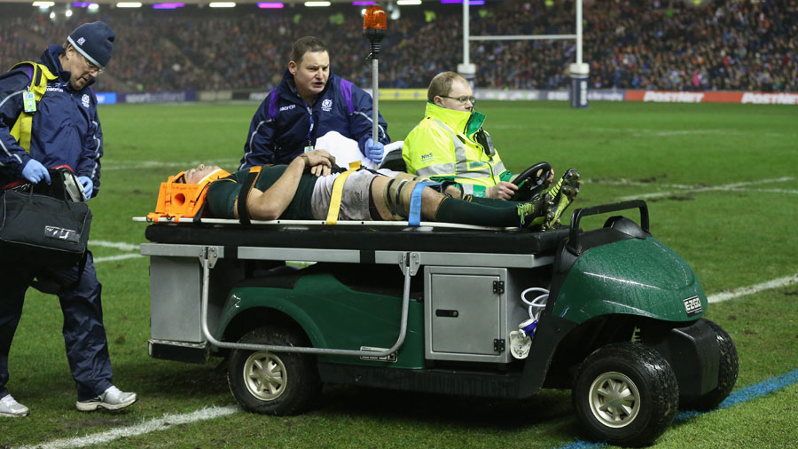 Francois Louw is carried off the field with a neck injury