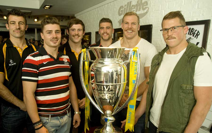Six of the Aviva Premiership's players pose in aid of Movember