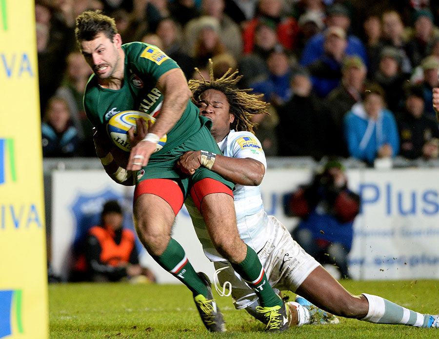 Marland Yarde makes a crucial intervention on Leicester's Niall Morris