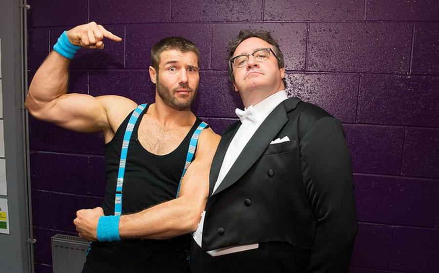 Ben Cohen larks around backstage with Mark Benton
