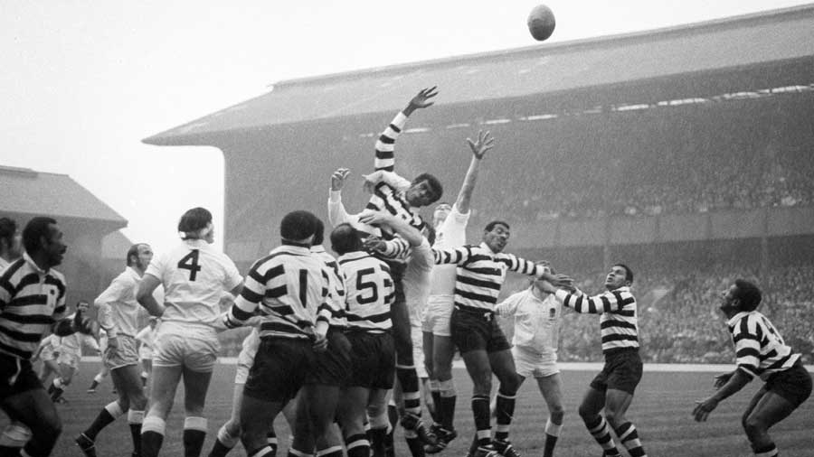 The Fijian National Rugby Union team in action at Twickenham against the England Under-25 side
