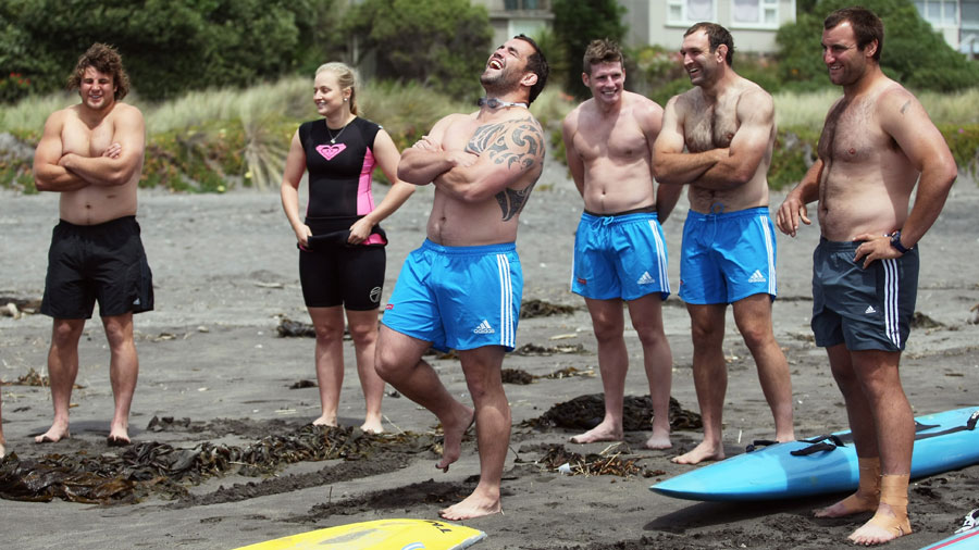 Corey Flynn laughs with team members during a lifesaving training day