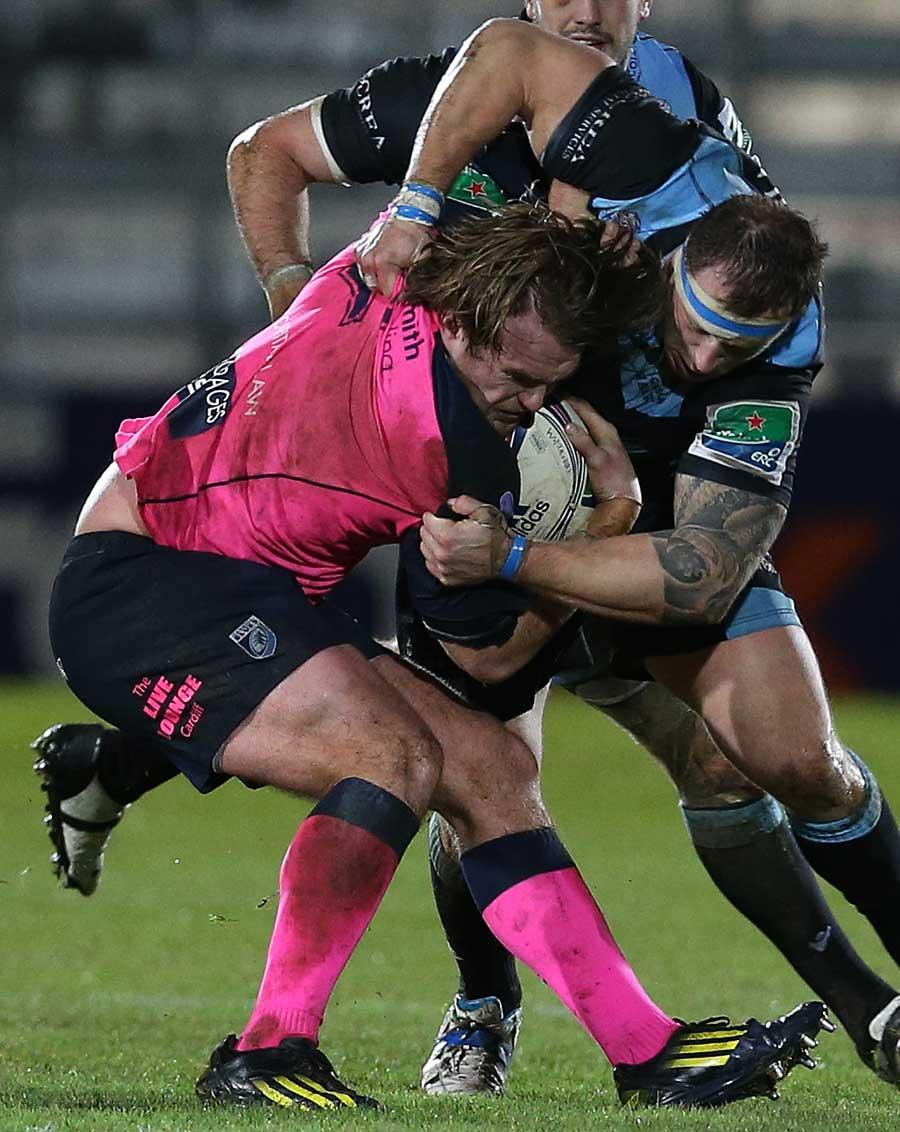 Glasgow Warriors' Ryan Grant tackles Cardiff Blues' Kristian Dacey