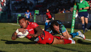 David Smith dots down in the corner for Toulon's second try against Exeter