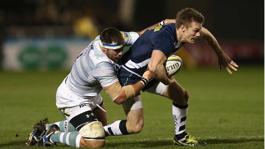 Sale Sharks' Dwayne Peel forces his way forward