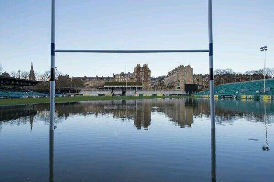 Bath's Recreation Ground under water after the pre-Christmas storms