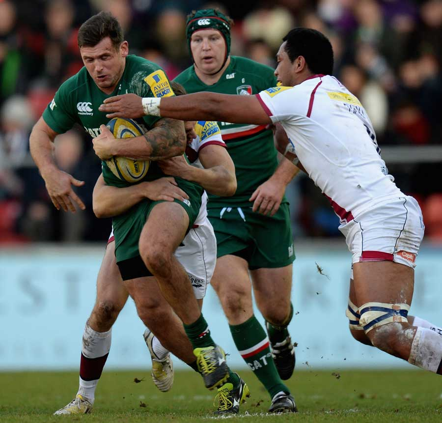 Leicester Tigers' Adam Thompstone attempts to force his way through