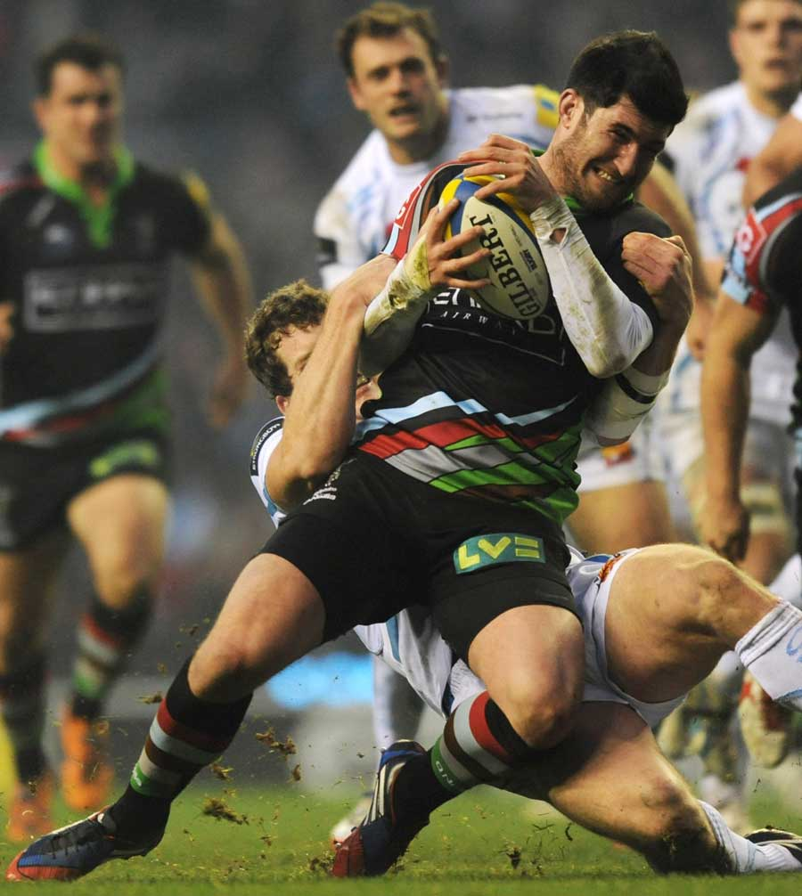 Harlequins' Tom Casson is halted in his tracks