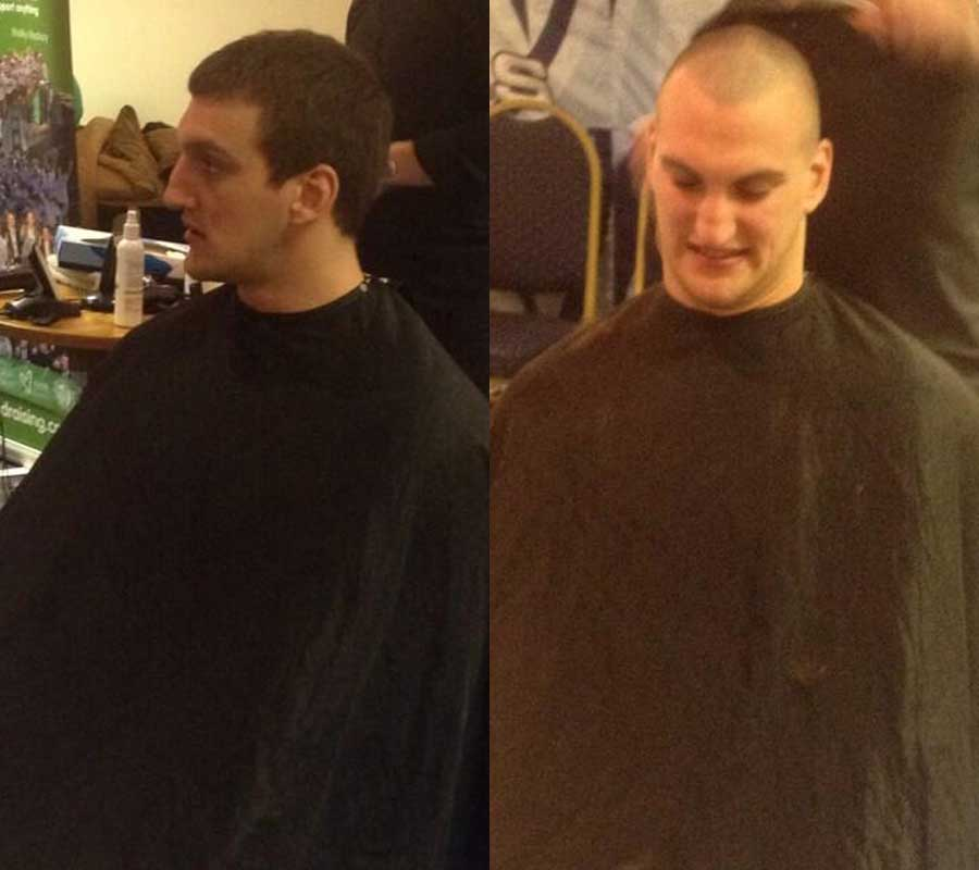 Cardiff Blues' Sam Warburton has his hair shaved for charity