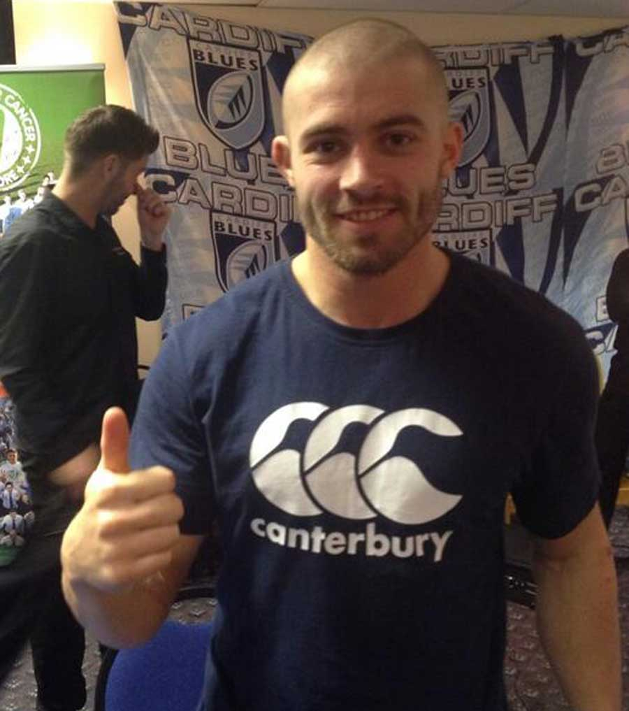 Cardiff Blues' Leigh Halfpenny after having his hair shaved for charity